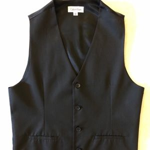 Calvin Kline - black lightly pinstriped vest